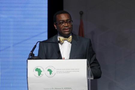The  president of the African Development Bank (AfDB) Akinwumi Adesina of Nigeria speaks during his investiture ceremony in Abidjan September 1, 2015.   REUTERS/Luc Gnago
